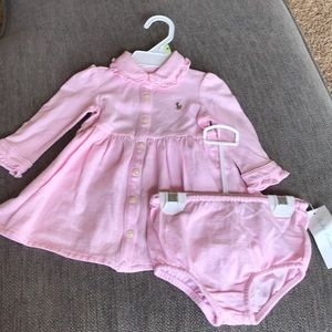 NET pink Polo girls dress with bloomers